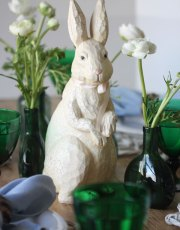 Ridgely Brode creates a simple and rustic green and white table for Easter on her blog, Ridgely