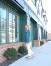 Ridgely Brode wears a teal basket weave jacket, white jeans and new suede block heels on her blog Ridgely