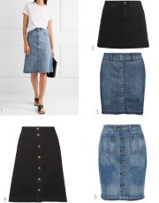Ridgely Brode is seeing a lot Button Front Denim Skirts in her travels and pulled a selection of ones she like on her blog, Ridgely