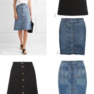 Button Front Denim Skirts