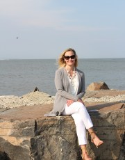 Ridgely Brode enjoys her new transitional Grey Ribbed Duster Cardigan on the first cool evenings at the beach on her blog, Ridgely