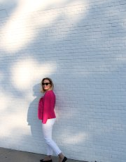 Ridgely Brode wears a gorgeous fuchsia blazer over white jeans in celebration of Talbots 70th Anniversary on her blog Ridgely