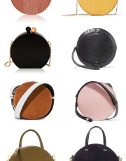 Ridgely Brode finds that round bags are going around and pulls several sizes of the fun shape on her blog Ridgely