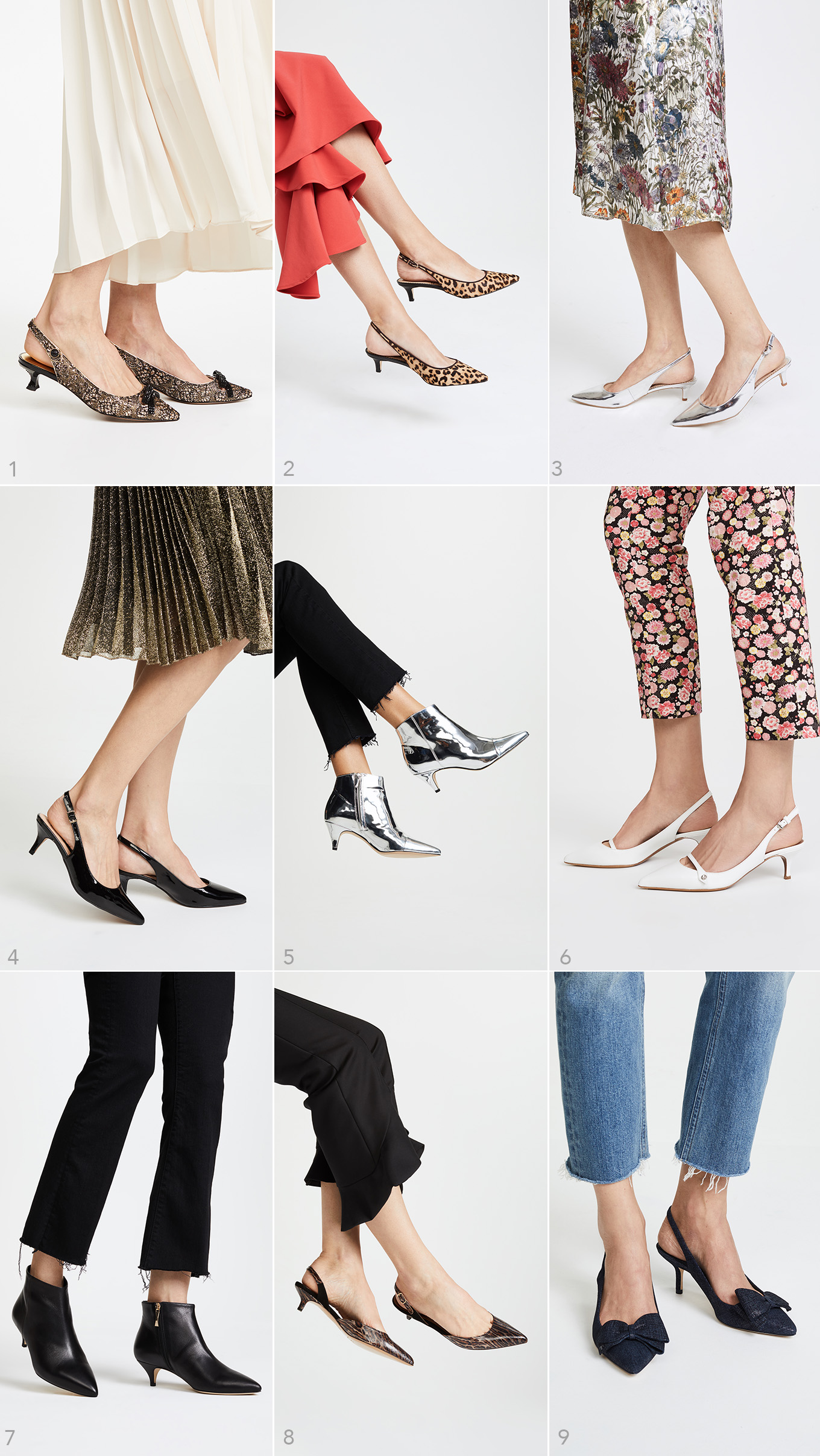 Ridgely Brode finds lots of Kitten Heels that look great with dresses, skirts and even the very trendy frayed jeans on her blog, Ridgely's Radar.