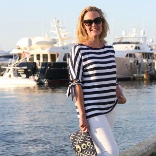 Navy and White Striped Tie Top