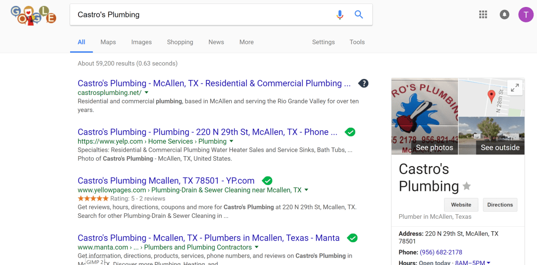 Castros Plumbing Google Search Results