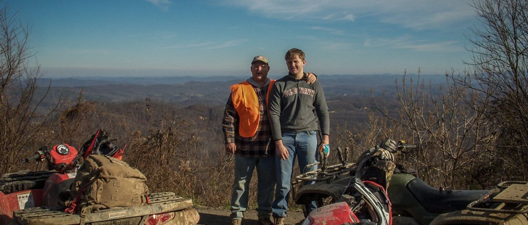 "ATV riders at the ""Top of the World"" site on the trails"