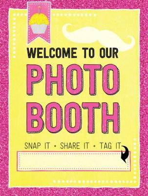 Ridgetop Digital Shop | Friday Freebie | Birthday Photo Booth Sign | Pink Yellow