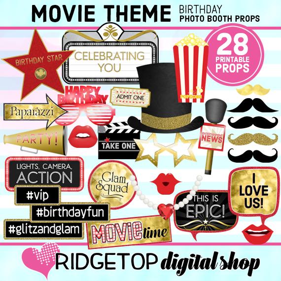 Ridgetop Digital Shop | Movie Night Birthday | Photo Booth Props