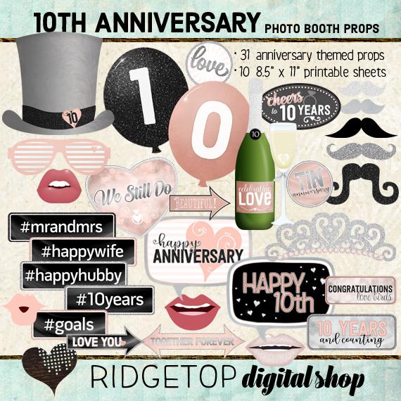 Ridgetop Digital Shop | 10th Anniversary Photo Props | Anniversary Photo Booth | Rose Gold