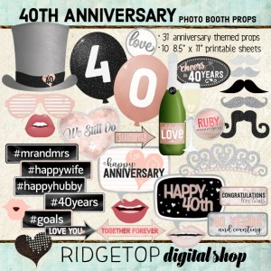 Ridgetop Digital Shop | 40th Anniversary Photo Props | Anniversary Photo Booth | Rose Gold