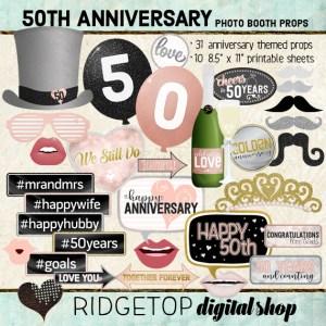 Ridgetop Digital Shop | 50th Anniversary Photo Props | Anniversary Photo Booth | Rose Gold
