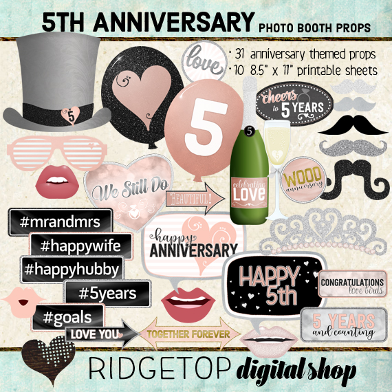 Ridgetop Digital Shop | 5th Anniversary Photo Props | Anniversary Photo Booth | Rose Gold