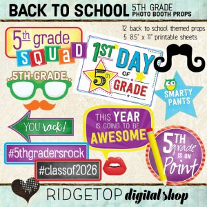 Ridgetop Digital Shop | Back to School - 5th Grade Photo Props