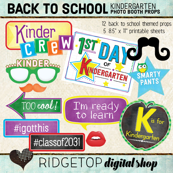 Ridgetop Digital Shop | Back to School - Kindergarten Photo Props