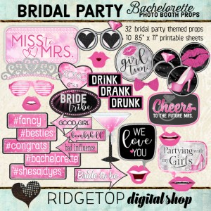 Ridgetop Digital Shop | Bachelorette Party - Pink Photo Props | Bridal Shower Photo Booth | Hen Party