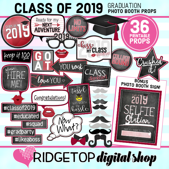 Ridgetop Digital Shop | Class of 2019 Photo Props - Crimson | Graduation Photo Booth