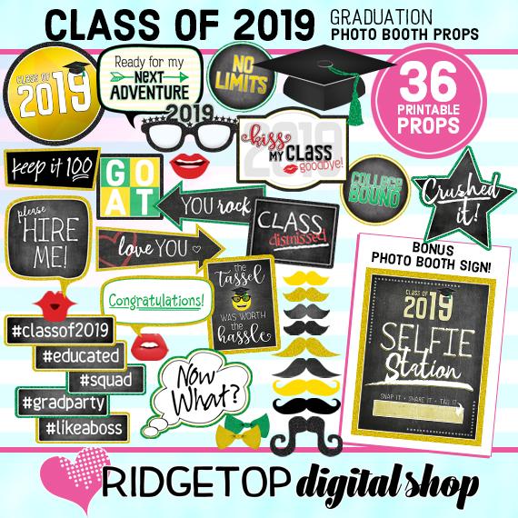Ridgetop Digital Shop | Class of 2019 Photo Props - Green Yellow | Graduation Photo Booth