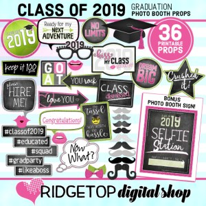 Ridgetop Digital Shop | Class of 2019 Photo Props - Pink, Lime | Graduation Photo Booth