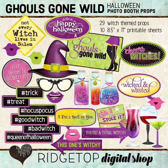 Ridgetop Digital Shop |Ghouls Gone Wild Photo Props | Halloween Photo Booth
