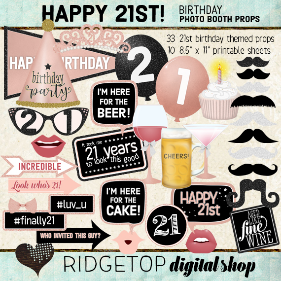 Ridgetop Digital Shop | 21st birthday Photo Props | Rose Gold