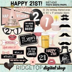 Ridgetop Digital Shop | 21st birthday Photo Props | Rose Gold
