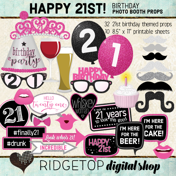 Ridgetop Digital Shop | Hot Pink Birthday Party | Photo Booth Props