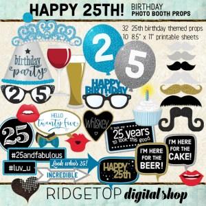Ridgetop Digital Shop | 25th Birthday Party | Blue Photo Props