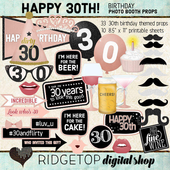 Ridgetop Digital Shop   Rose Gold Birthday Party   Photo Booth Props