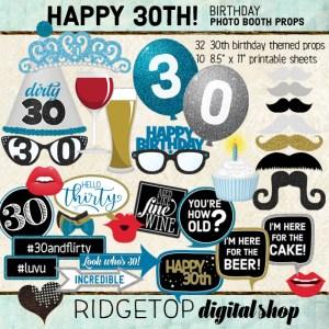 Ridgetop Digital Shop | 30th Birthday Party | Blue Photo Props