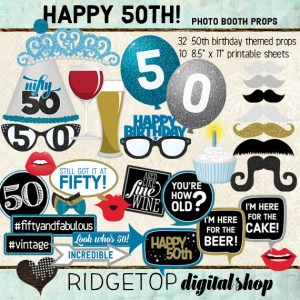 Ridgetop Digital Shop | 50th Birthday Party | Blue Photo Props