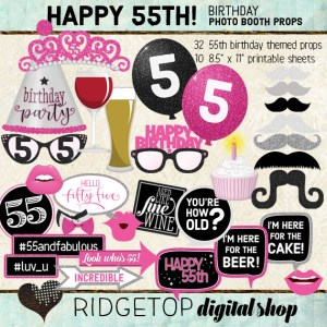 Ridgetop Digital Shop | 55th Birthday Photo Booth Props | Pink and Black Party