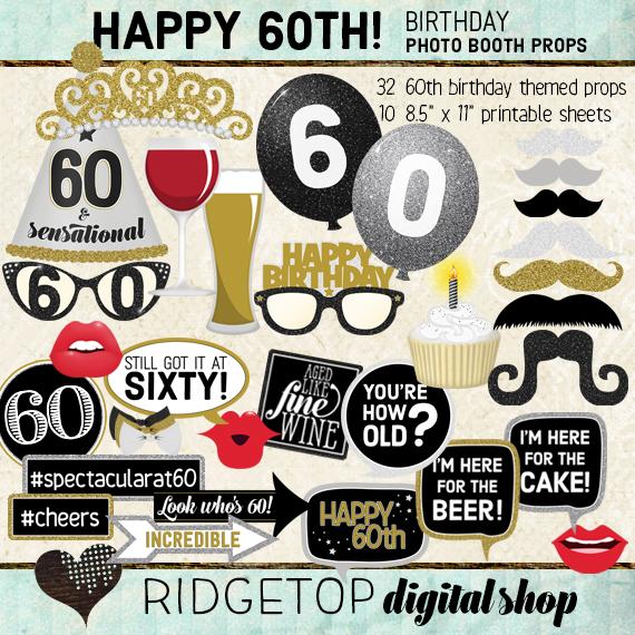 Ridgetop Digital Shop | 60th Birthday Party Photo Booth Props