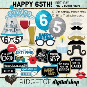 Ridgetop Digital Shop | 65th Birthday Party | Blue Photo Props