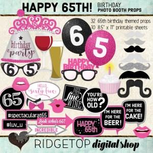 Ridgetop Digital Shop | 65th Birthday Photo Booth Props