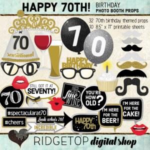 Ridgetop Digital Shop | 70th Birthday Party Photo Booth Props