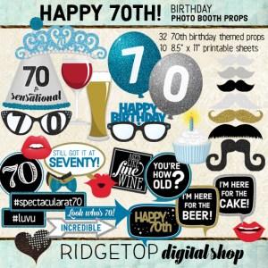 Ridgetop Digital Shop | 70th Birthday Party | Blue Photo Props