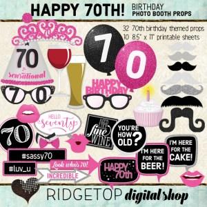 Ridgetop Digital Shop | 70th Birthday Photo Booth Props
