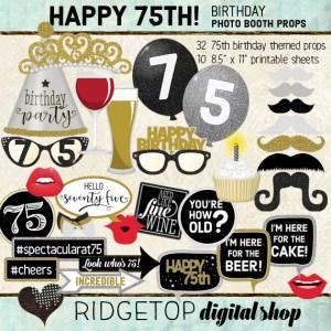 Ridgetop Digital Shop | 75th Birthday Party Photo Booth Props