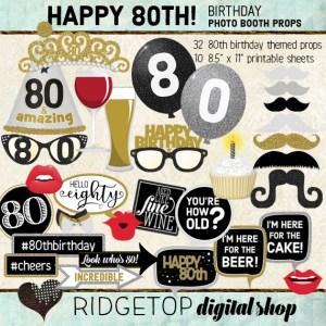 Ridgetop Digital Shop | 80th Birthday Party Photo Booth Props