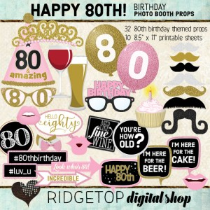 Ridgetop Digital Shop | Soft Pink Birthday Party | Photo Booth Props