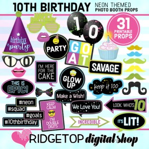 Ridgetop Digital Shop | Neon 10th Birthday Photo Props