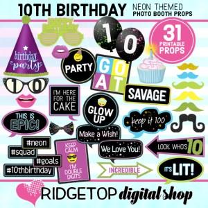 Ridgetop Digital Shop | Neon 10th Birthday Photo Props