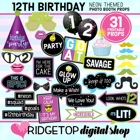 Ridgetop Digital Shop | Neon 12th Birthday Photo Props