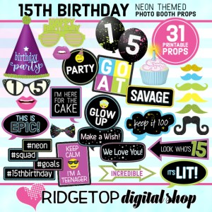 Ridgetop Digital Shop | Neon 15th Birthday Photo Props