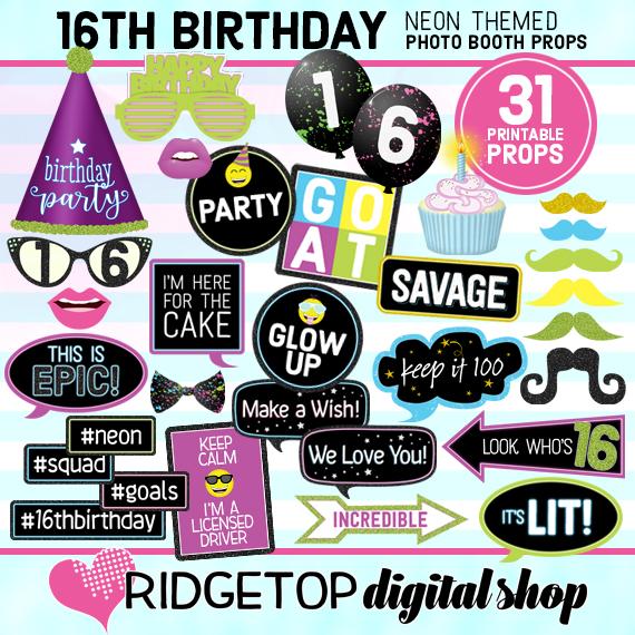 Ridgetop Digital Shop | Neon 16th Birthday Photo Props