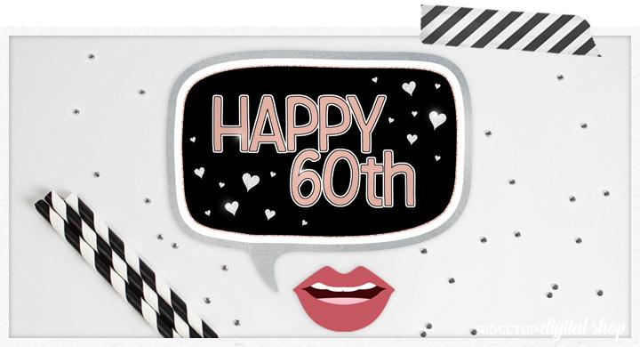 Ridgetop Digital Shop | 60th Anniversary Photo Props | Anniversary Photo Booth | Rose Gold