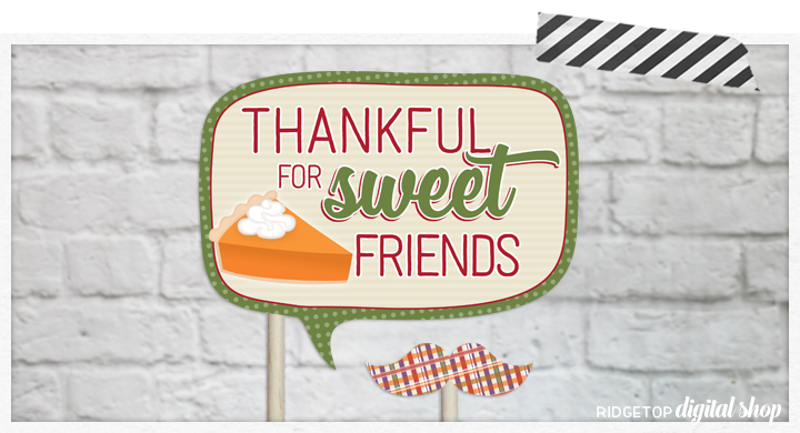 Ridgetop Digital Shop | Friendsgiving Photo Props | Thanksgiving Photo Booth | Printable