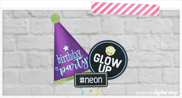 Ridgetop Digital Shop | Neon Birthday Photo Props