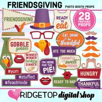 Ridgetop Digital Shop | Friendsgiving Photo Props | Thanksgiving Photo Booth